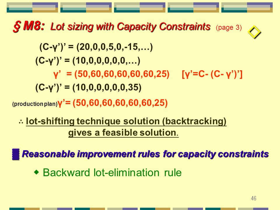 45 § M8: Lot sizing with Capacity Constraints § M8: Lot sizing with Capacity Constraints (page 2) ▓ Lot-shifting technique to find initial solution ▓ Eg.