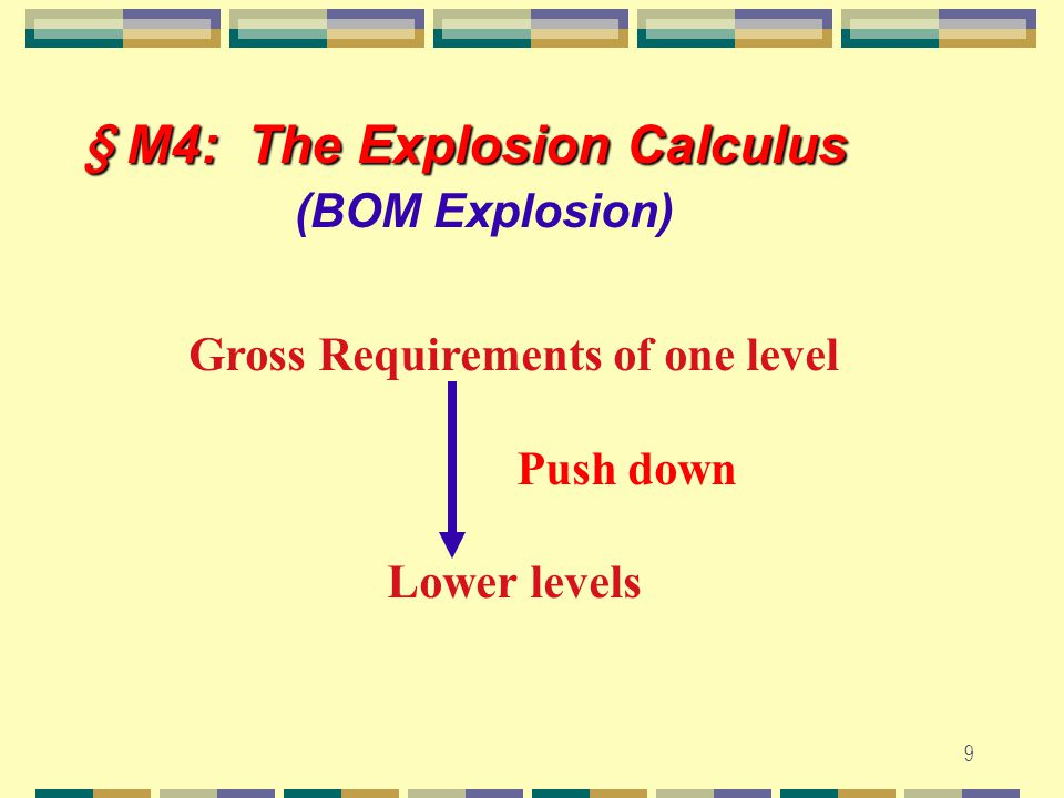 8 § M3: JIT ~ Pull § M3: JIT ~ Pull Production Control System Basics : 1. WIP is minimum. 2. A Pull system ~ production at each stage is initiated onl
