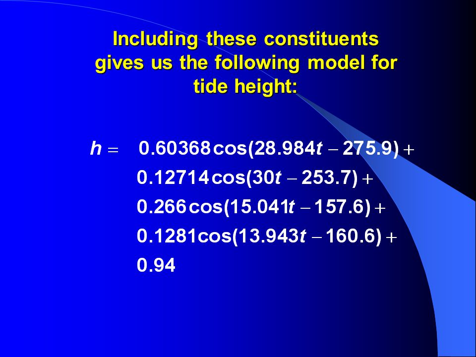 Including these constituents gives us the following model for tide height: