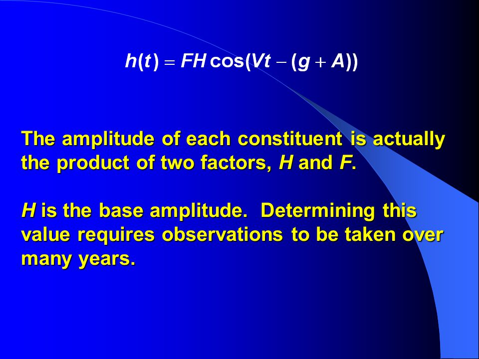 The amplitude of each constituent is actually the product of two factors, H and F.