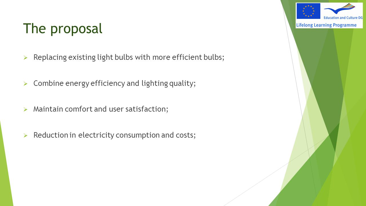 The proposal  Replacing existing light bulbs with more efficient bulbs;  Combine energy efficiency and lighting quality;  Maintain comfort and user