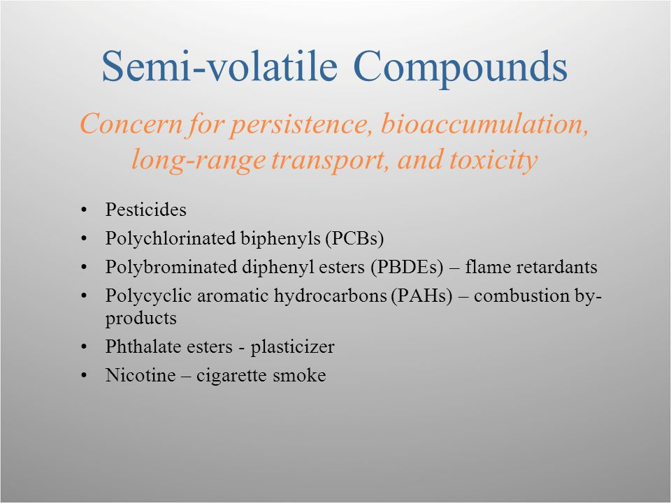 Semi-volatile Compounds Concern for persistence, bioaccumulation, long-range transport, and toxicity Pesticides Polychlorinated biphenyls (PCBs) Polybrominated diphenyl esters (PBDEs) – flame retardants Polycyclic aromatic hydrocarbons (PAHs) – combustion by- products Phthalate esters - plasticizer Nicotine – cigarette smoke