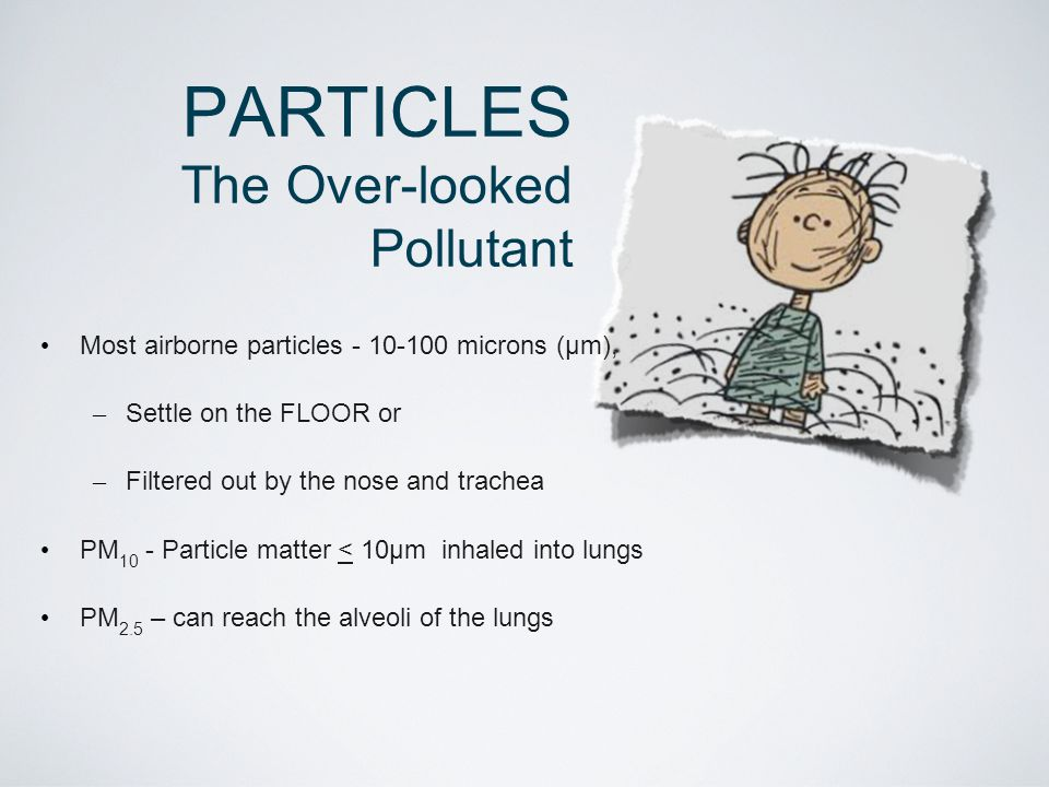 PARTICLES The Over-looked Pollutant Most airborne particles - 10-100 microns (μm), – Settle on the FLOOR or – Filtered out by the nose and trachea PM 10 - Particle matter < 10μm inhaled into lungs PM 2.5 – can reach the alveoli of the lungs