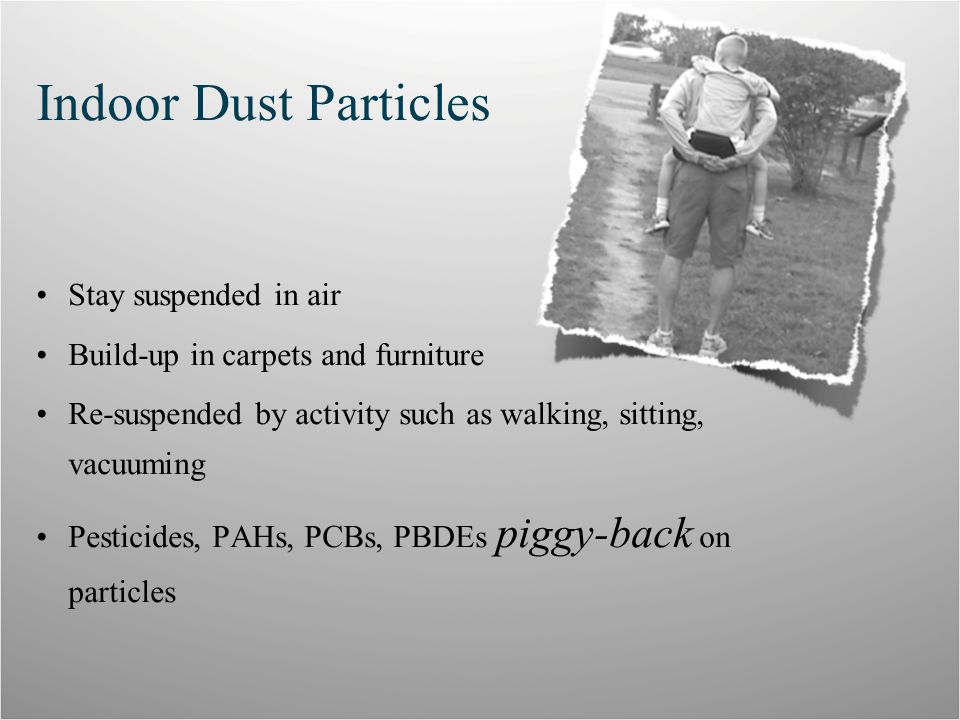 Indoor Dust Particles Stay suspended in air Build-up in carpets and furniture Re-suspended by activity such as walking, sitting, vacuuming Pesticides, PAHs, PCBs, PBDEs piggy-back on particles