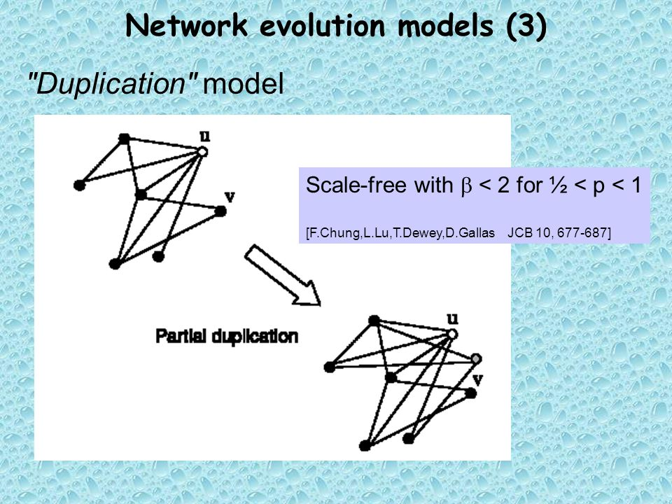 Network evolution models (3) Duplication model Scale-free with  < 2 for ½ < p < 1 [F.Chung,L.Lu,T.Dewey,D.GallasJCB 10, ]