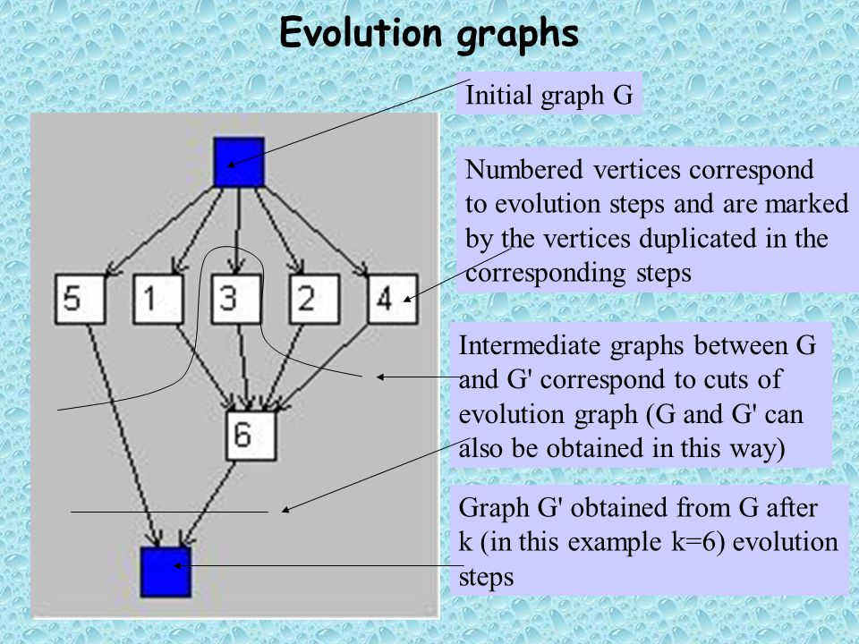 Initial graph G Graph G' obtained from G after k (in this example k=6) evolution steps Intermediate graphs between G and G' correspond to cuts of evol