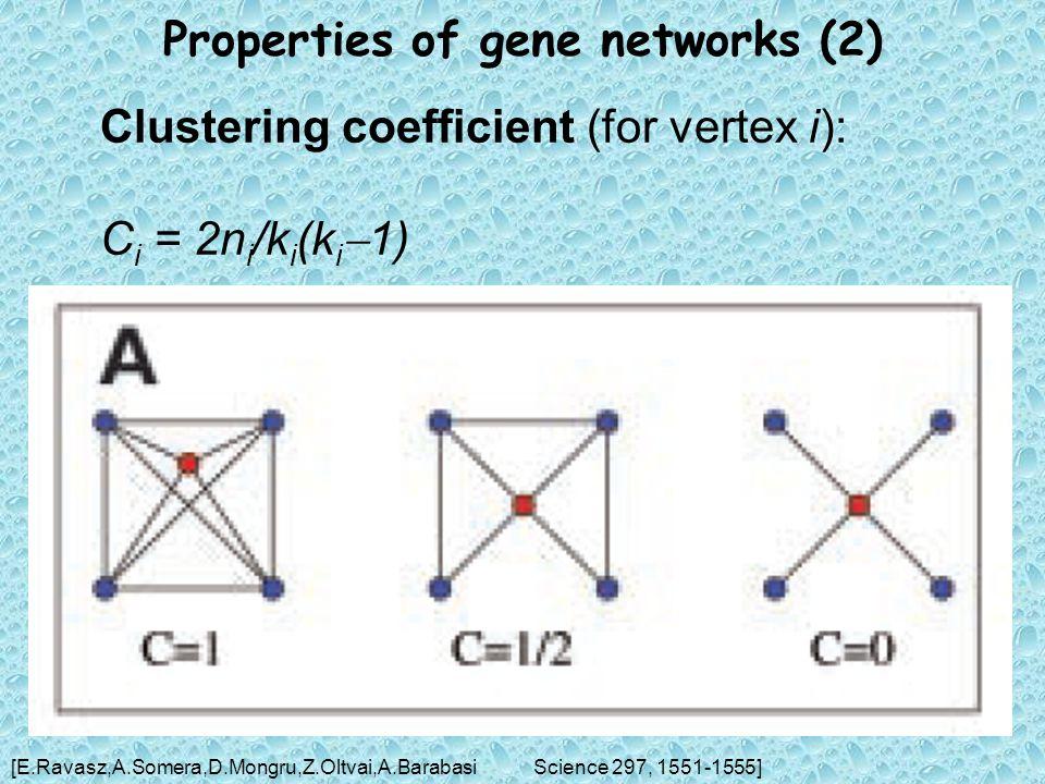 Properties of gene networks (2) Clustering coefficient (for vertex i): C i = 2n i /k i (k i  1) [E.Ravasz,A.Somera,D.Mongru,Z.Oltvai,A.BarabasiScience 297, 1551-1555]