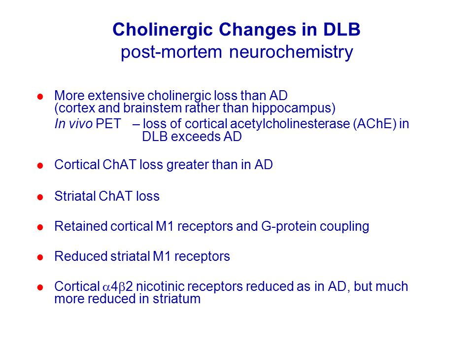 Cholinergic Changes in DLB post-mortem neurochemistry More extensive cholinergic loss than AD (cortex and brainstem rather than hippocampus) In vivo PET – loss of cortical acetylcholinesterase (AChE) in DLB exceeds AD Cortical ChAT loss greater than in AD Striatal ChAT loss Retained cortical M1 receptors and G-protein coupling Reduced striatal M1 receptors Cortical  4  2 nicotinic receptors reduced as in AD, but much more reduced in striatum