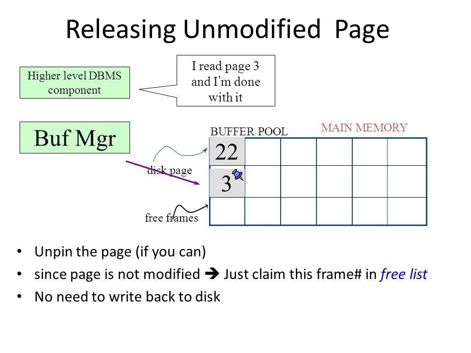 Releasing Unmodified Page 22 MAIN MEMORY disk page free frames BUFFER POOL Higher level DBMS component I read page 3 and I ' m done with it Buf Mgr 3 Unpin the page (if you can) since page is not modified  Just claim this frame# in free list No need to write back to disk