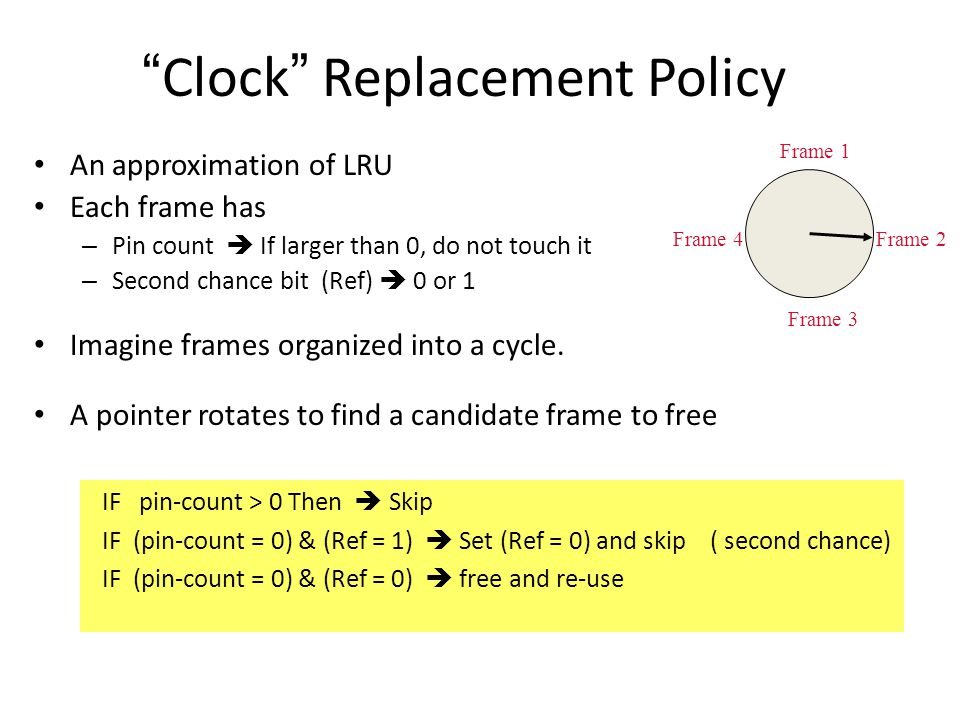 Clock Replacement Policy An approximation of LRU Each frame has – Pin count  If larger than 0, do not touch it – Second chance bit (Ref)  0 or 1 Imagine frames organized into a cycle.