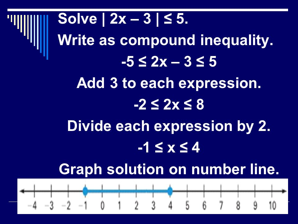 Solve | 2x – 3 | ≤ 5.Write as compound inequality.