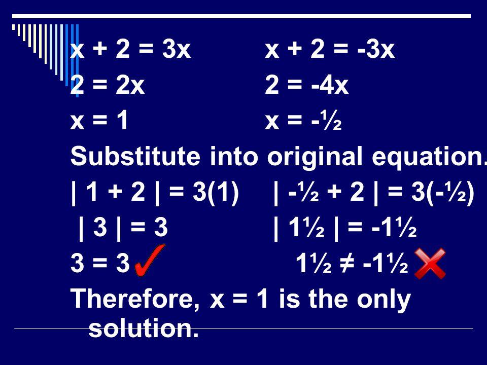x + 2 = 3xx + 2 = -3x 2 = 2x2 = -4x x = 1x = -½ Substitute into original equation.