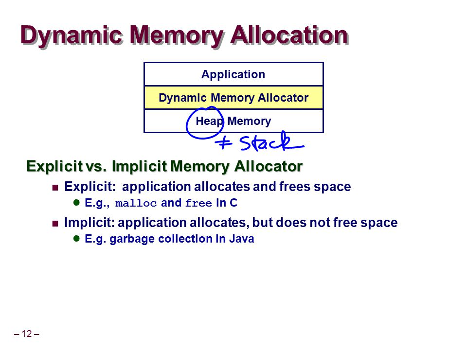 – 12 – Dynamic Memory Allocation Explicit vs. Implicit Memory Allocator Explicit: application allocates and frees space E.g., malloc and free in C Imp