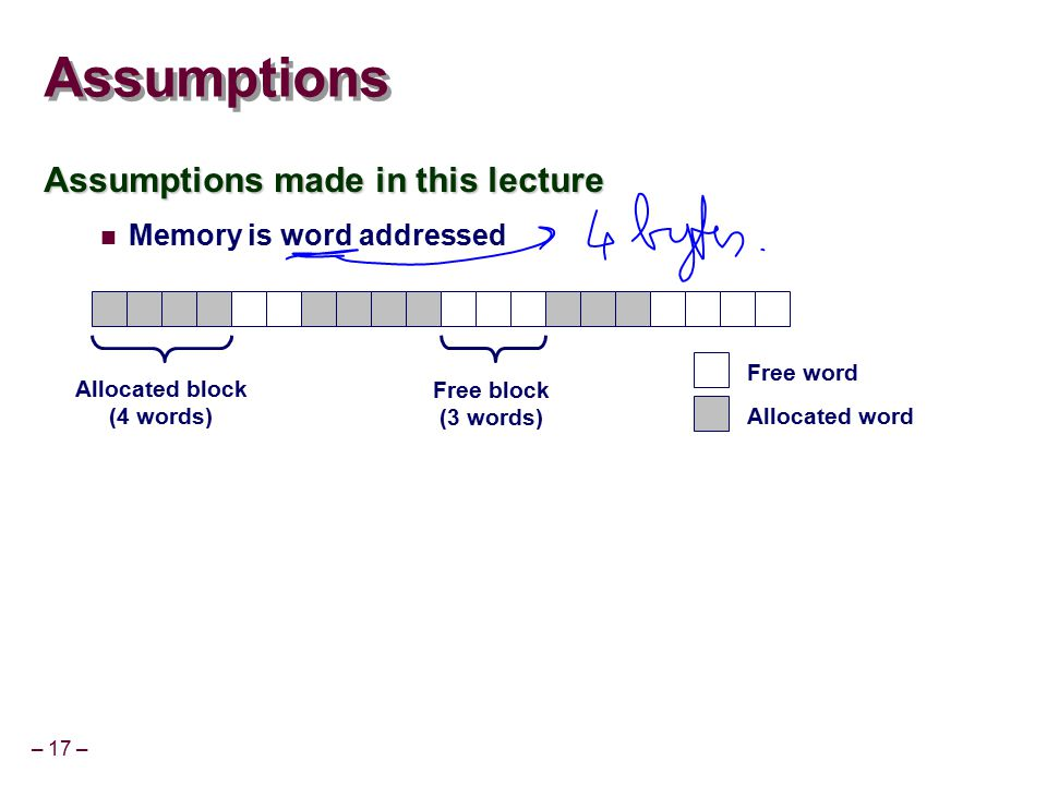 – 17 – Assumptions Assumptions made in this lecture Memory is word addressed Allocated block (4 words) Free block (3 words) Free word Allocated word