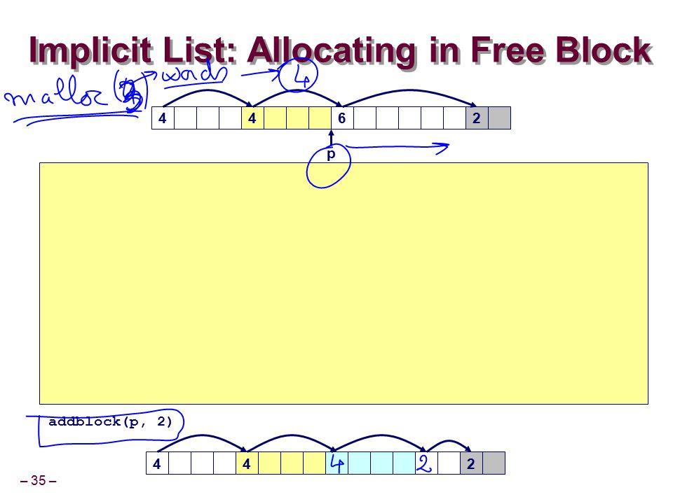 – 35 – Implicit List: Allocating in Free Block 4426 42 p 4 addblock(p, 2)