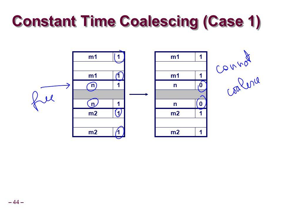– 44 – m11 Constant Time Coalescing (Case 1) m11 n1 n1 m21 1 m11 1 n0 n0 m21 1