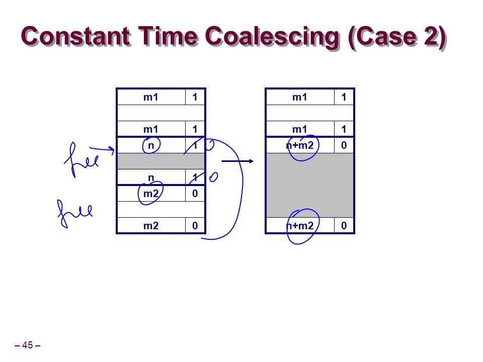 – 45 – m11 Constant Time Coalescing (Case 2) m11 n+m20 0 m11 1 n1 n1 m20 0