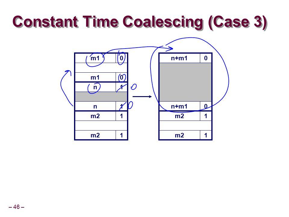 – 46 – m10 Constant Time Coalescing (Case 3) m10 n1 n1 m21 1 n+m10 0 m21 1