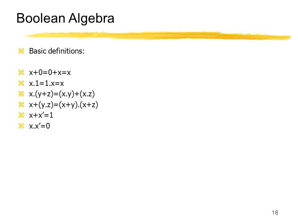 16 Boolean Algebra zBasic definitions: zx+0=0+x=x zx.1=1.x=x zx.(y+z)=(x.y)+(x.z) zx+(y.z)=(x+y).(x+z) zx+x'=1 zx.x'=0