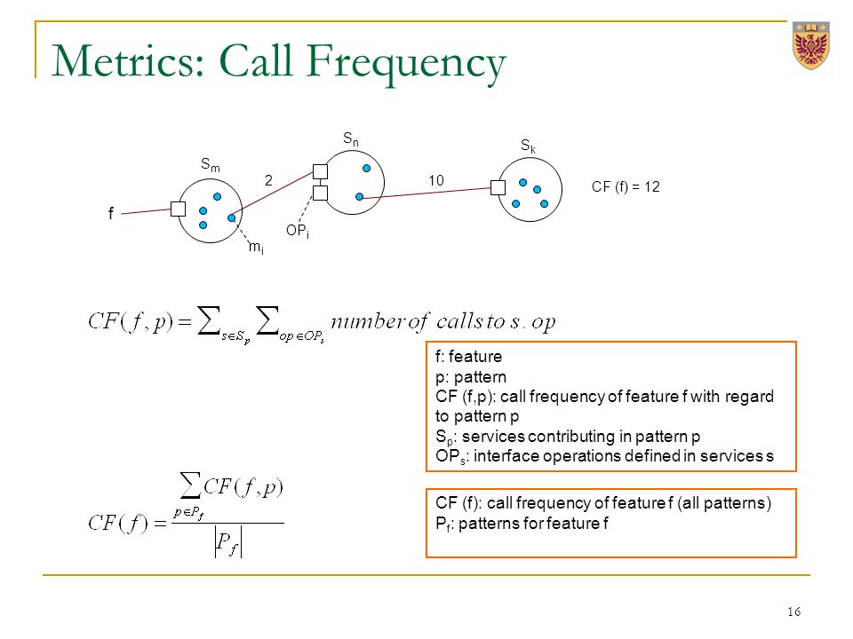 Metrics: Call Frequency f 210 CF (f) = 12 f: feature p: pattern CF (f,p): call frequency of feature f with regard to pattern p S p : services contributing in pattern p OP s : interface operations defined in services s CF (f): call frequency of feature f (all patterns) P f : patterns for feature f OP i 16 mimi SnSn SmSm SkSk