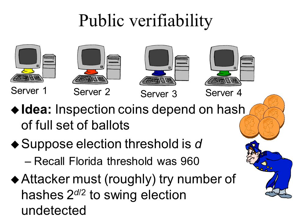 Public verifiability Server 1 Server 2 Server 3 Server 4 u Idea: Inspection coins depend on hash of full set of ballots u Suppose election threshold is d –Recall Florida threshold was 960 u Attacker must (roughly) try number of hashes 2 d/2 to swing election undetected