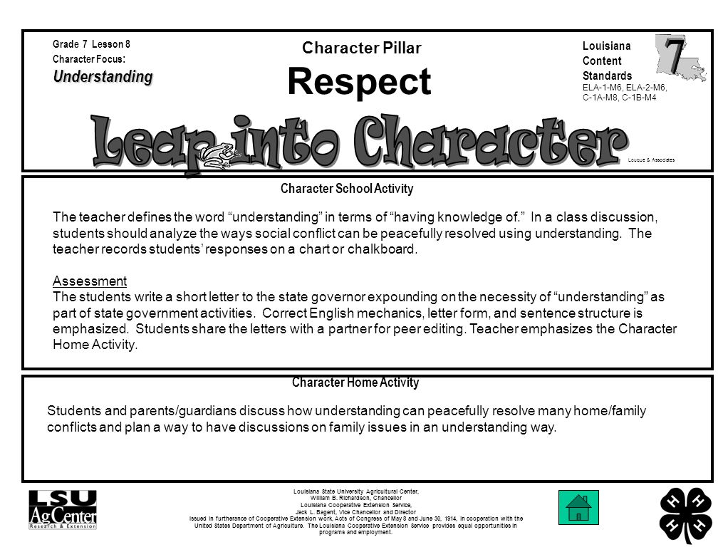 Louque & Associates Character School Activity Character Home Activity Character Pillar Louisiana State University Agricultural Center, William B.