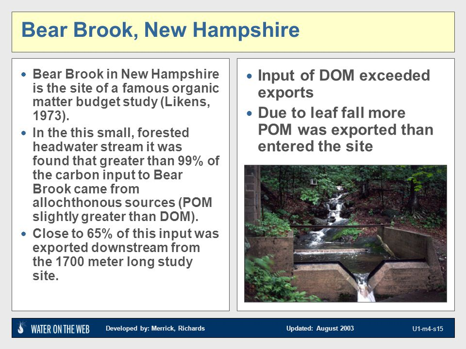 Developed by: Merrick, Richards Updated: August 2003 U1-m4-s15 Bear Brook, New Hampshire  Bear Brook in New Hampshire is the site of a famous organic