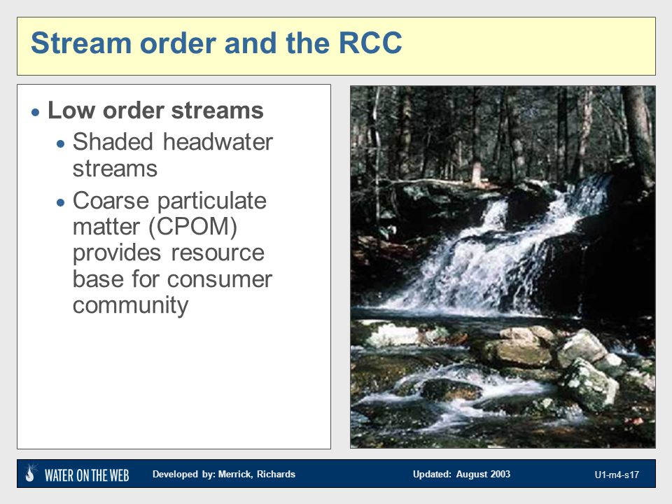 Developed by: Merrick, Richards Updated: August 2003 U1-m4-s17 Stream order and the RCC  Low order streams  Shaded headwater streams  Coarse partic