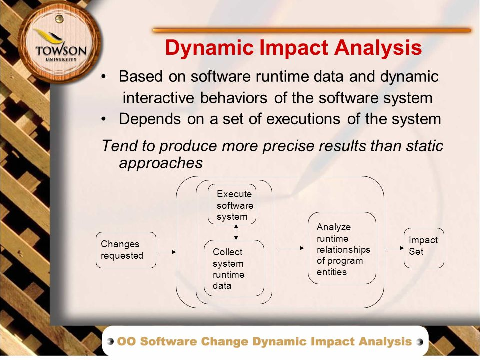 Dynamic Impact Analysis Based on software runtime data and dynamic interactive behaviors of the software system Depends on a set of executions of the system Tend to produce more precise results than static approaches Changes requested Execute software system Collect system runtime data Impact Set Analyze runtime relationships of program entities