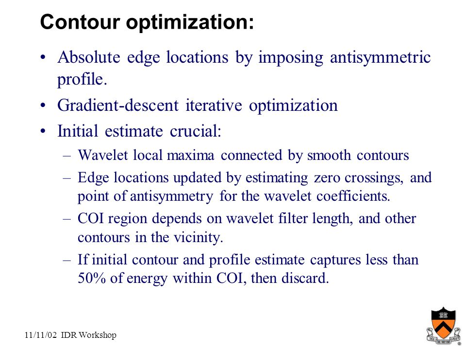 11/11/02 IDR Workshop Contour optimization: Absolute edge locations by imposing antisymmetric profile.