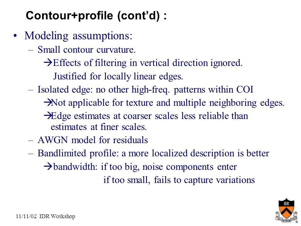 11/11/02 IDR Workshop Contour+profile (cont'd) : Modeling assumptions: –Small contour curvature.