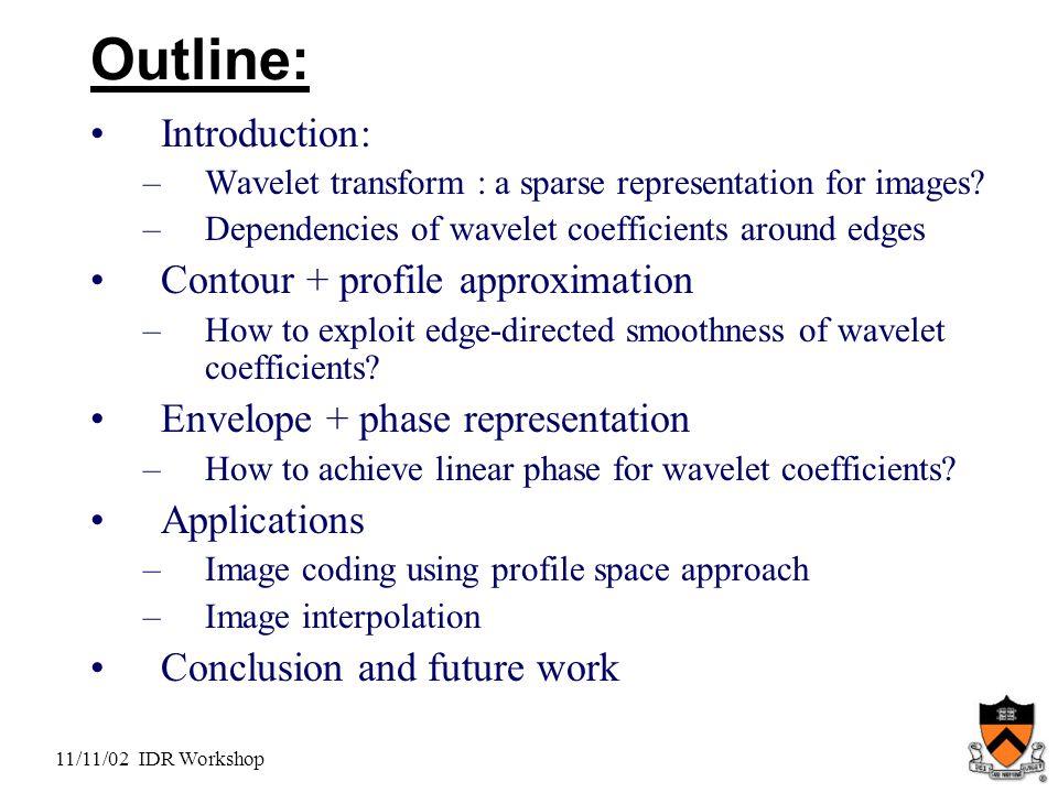 11/11/02 IDR Workshop Outline: Introduction: –Wavelet transform : a sparse representation for images.