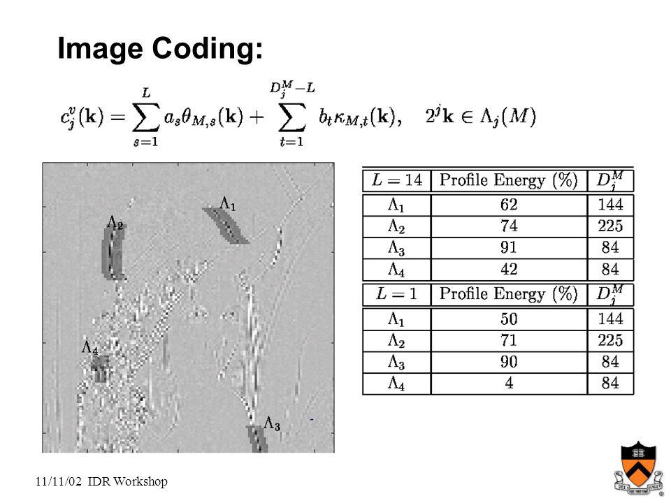 11/11/02 IDR Workshop Image Coding: