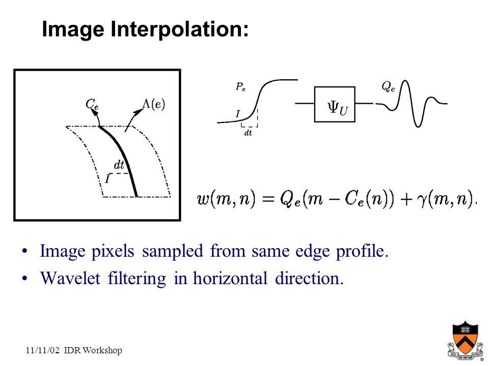 11/11/02 IDR Workshop Image Interpolation: Image pixels sampled from same edge profile.