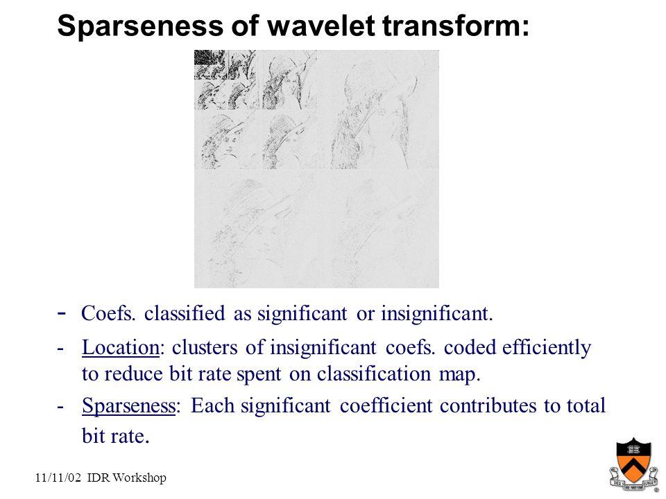 11/11/02 IDR Workshop Sparseness of wavelet transform: - Coefs.
