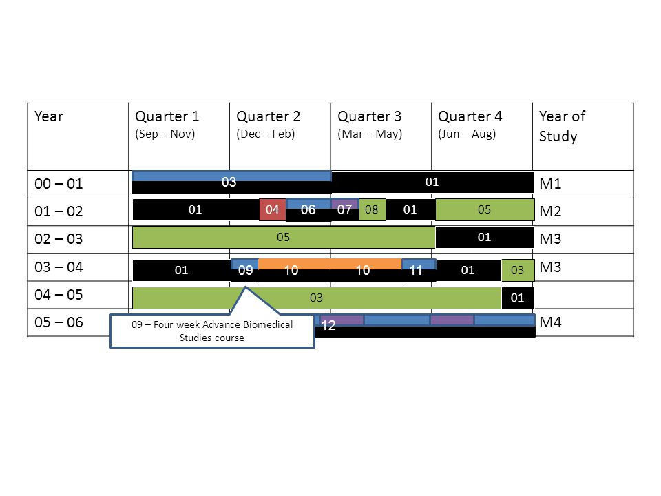 YearQuarter 1 (Sep – Nov) Quarter 2 (Dec – Feb) Quarter 3 (Mar – May) Quarter 4 (Jun – Aug) Year of Study 00 – 01M1 01 – 02M2 02 – 03M3 03 – 04M3 04 – 05 05 – 06M4 01 04080105 01 03 01 03 0607 0910 11 12 09 – Four week Advance Biomedical Studies course