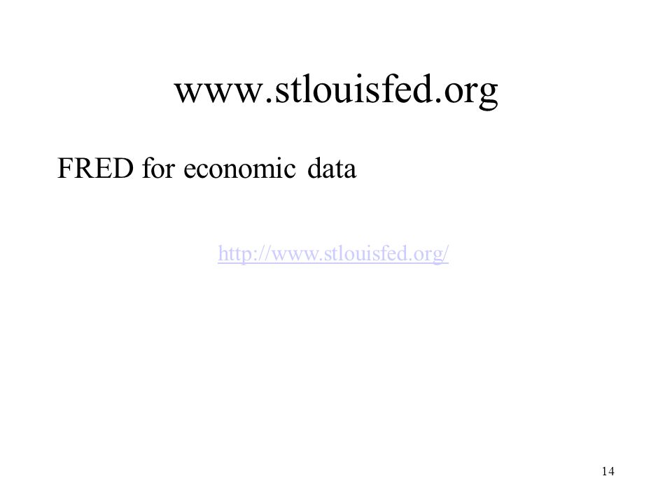 14 http://www.stlouisfed.org/ www.stlouisfed.org FRED for economic data
