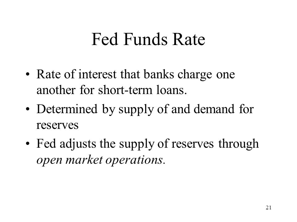 21 Fed Funds Rate Rate of interest that banks charge one another for short-term loans. Determined by supply of and demand for reserves Fed adjusts the