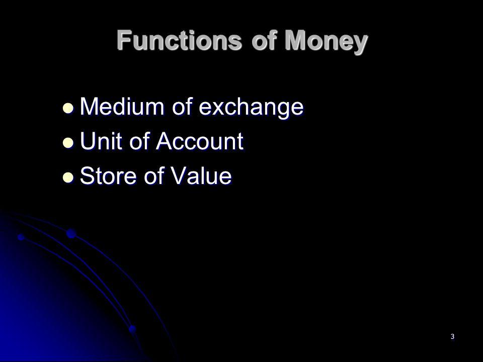 3 Functions of Money Medium of exchange Medium of exchange Unit of Account Unit of Account Store of Value Store of Value