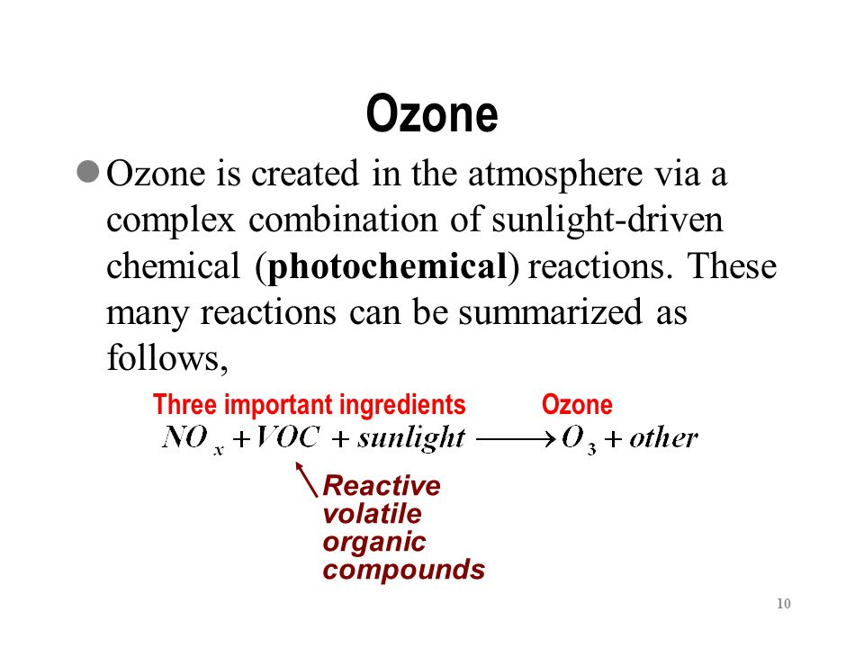 10 Ozone is created in the atmosphere via a complex combination of sunlight-driven chemical (photochemical) reactions.
