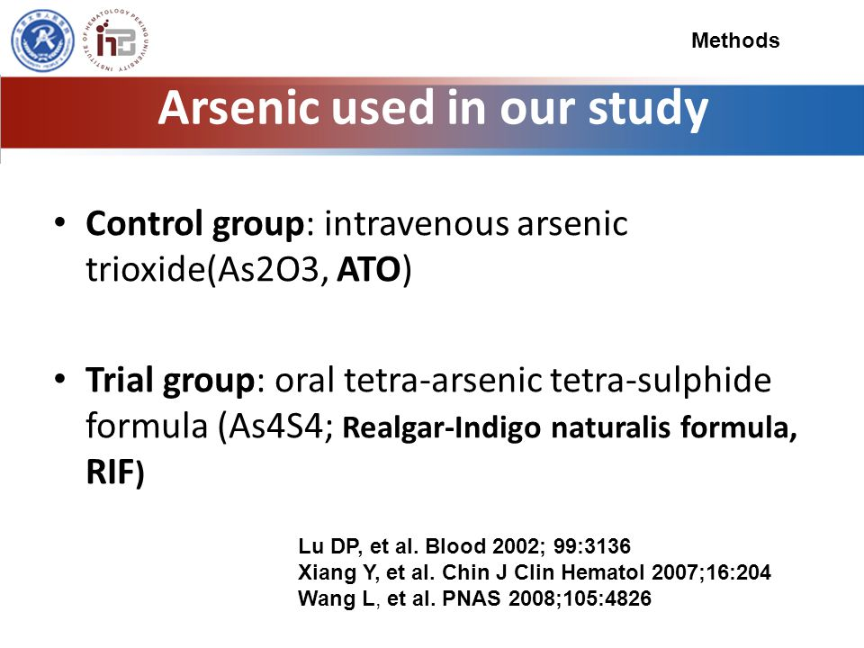 Arsenic used in our study Control group: intravenous arsenic trioxide(As2O3, ATO) Trial group: oral tetra-arsenic tetra-sulphide formula (As4S4; Realgar-Indigo naturalis formula, RIF ) Lu DP, et al.