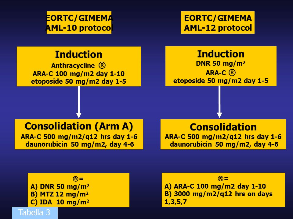 EORTC/GIMEMA AML-10 protocol Induction Anthracycline ® ARA-C 100 mg/m2 day 1-10 etoposide 50 mg/m2 day 1-5 Consolidation (Arm A)‏ ARA-C 500 mg/m2/q12 hrs day 1-6 daunorubicin 50 mg/m2, day 4-6 ®= A) DNR 50 mg/m 2 B) MTZ 12 mg/m 2 C) IDA 10 mg/m 2 EORTC/GIMEMA AML-12 protocol Induction DNR 50 mg/m 2 ARA-C ® etoposide 50 mg/m2 day 1-5 Consolidation ARA-C 500 mg/m2/q12 hrs day 1-6 daunorubicin 50 mg/m2, day 4-6 ®= A) ARA-C 100 mg/m2 day 1-10 B) 3000 mg/m2/q12 hrs on days 1,3,5,7 Tabella 3