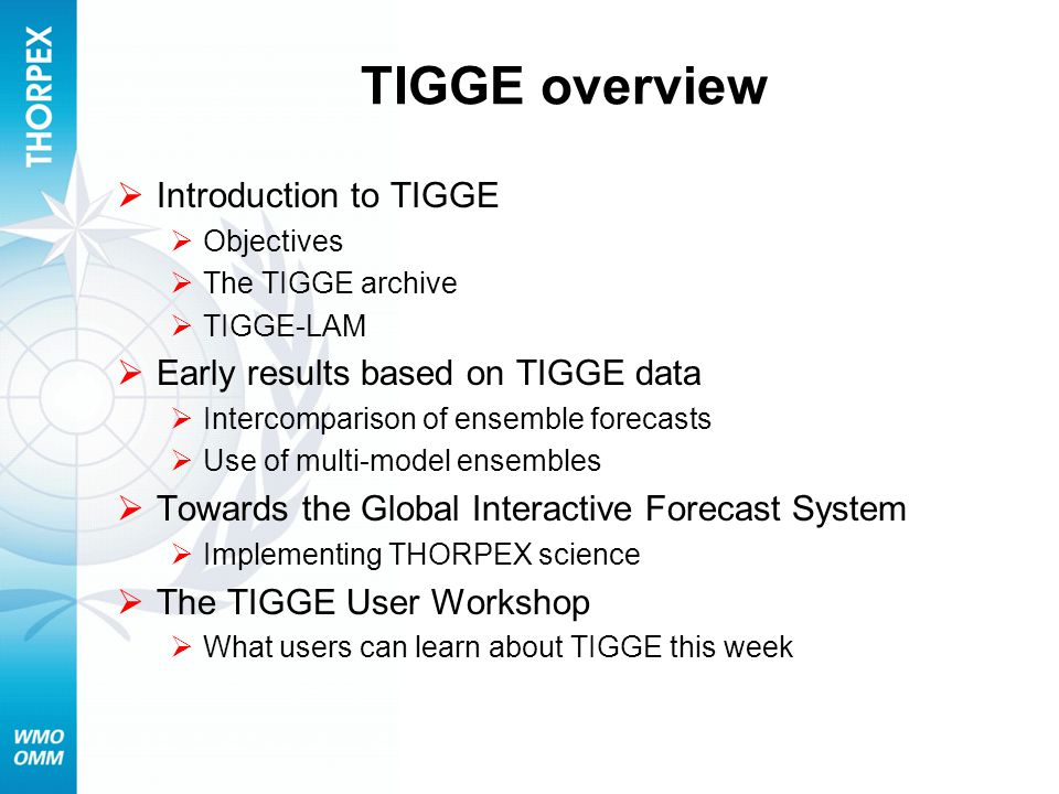 TIGGE overview  Introduction to TIGGE  Objectives  The TIGGE archive  TIGGE-LAM  Early results based on TIGGE data  Intercomparison of ensemble forecasts  Use of multi-model ensembles  Towards the Global Interactive Forecast System  Implementing THORPEX science  The TIGGE User Workshop  What users can learn about TIGGE this week