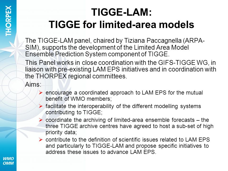 TIGGE-LAM: TIGGE for limited-area models The TIGGE-LAM panel, chaired by Tiziana Paccagnella (ARPA- SIM), supports the development of the Limited Area Model Ensemble Prediction System component of TIGGE.