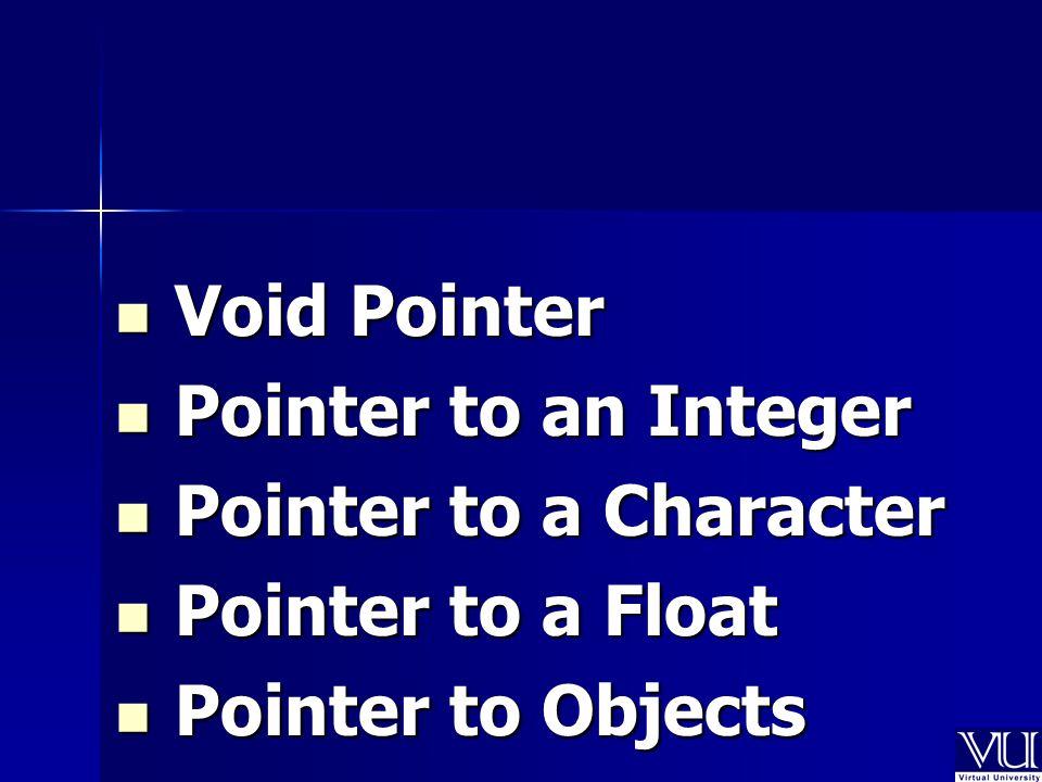 Void Pointer Void Pointer Pointer to an Integer Pointer to an Integer Pointer to a Character Pointer to a Character Pointer to a Float Pointer to a Float Pointer to Objects Pointer to Objects