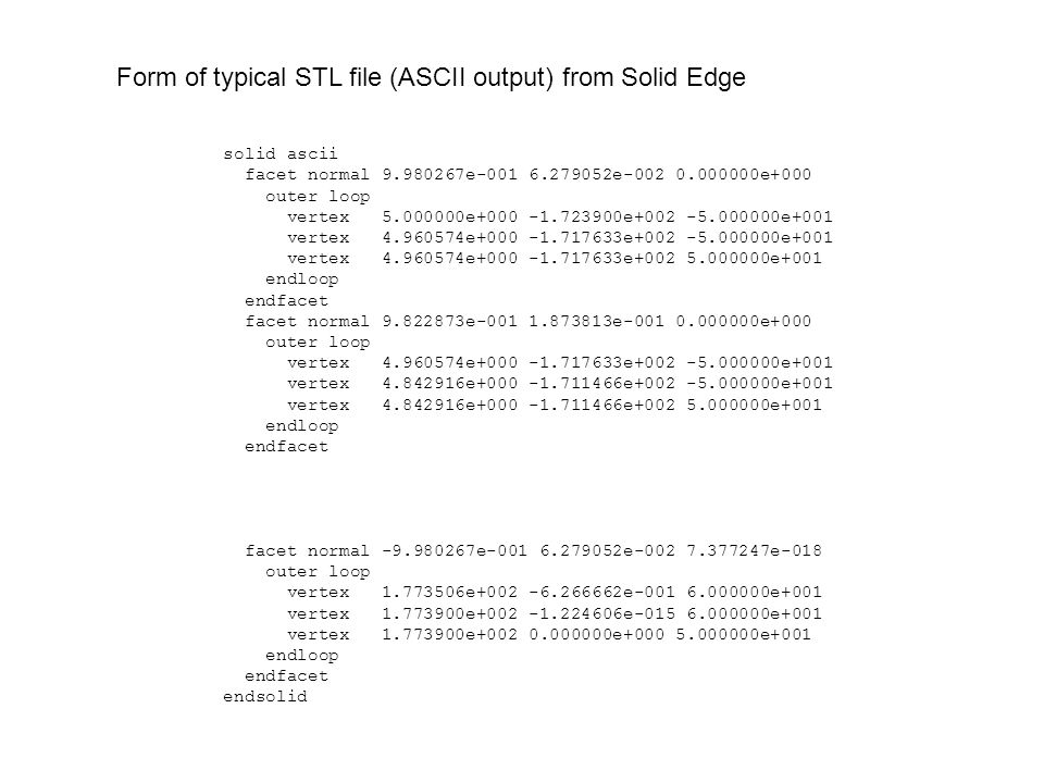 $ File: pusher_coupler2.stl $ Date: Wed Sep 3 10:48:21 2008 $ Created by: STL2DSP - Version 1.0 - September 2008 5 0.998027 0.062791 0.000000 4 5.000000 -172.390000 -50.000000 5 0.998027 0.062791 0.000000 4 4.960574 -171.763300 -50.000000 5 0.998027 0.062791 0.000000 4 4.960574 -171.763300 50.000000 5 0.982287 0.187381 0.000000 4 4.960574 -171.763300 -50.000000 5 0.982287 0.187381 0.000000 4 4.842916 -171.146600 -50.000000 5 0.982287 0.187381 0.000000 4 4.842916 -171.146600 50.000000 5 -0.998027 0.062791 0.000000 4 177.350600 -0.626666 60.000000 5 -0.998027 0.062791 0.000000 4 177.390000 -0.000000 60.000000 5 -0.998027 0.062791 0.000000 4 177.390000 0.000000 50.000000 $ nfacet = 2220 $ End of file Form of corresponding DSP file