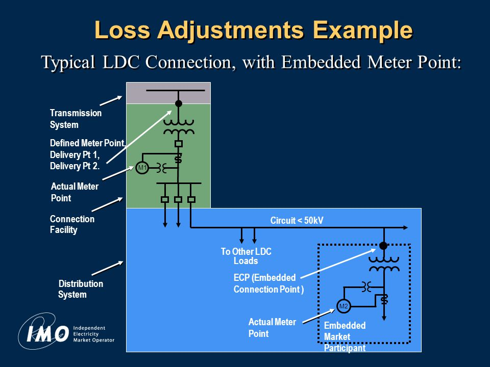 11 Loss Adjustments Example Typical LDC Connection, with Embedded Meter Point: Transmission System Actual Meter Point M1 Embedded Market Participant Actual Meter Point To Other LDC Loads Connection Facility Distribution System Circuit < 50kV M2 Defined Meter Point, Delivery Pt 1, Delivery Pt 2.