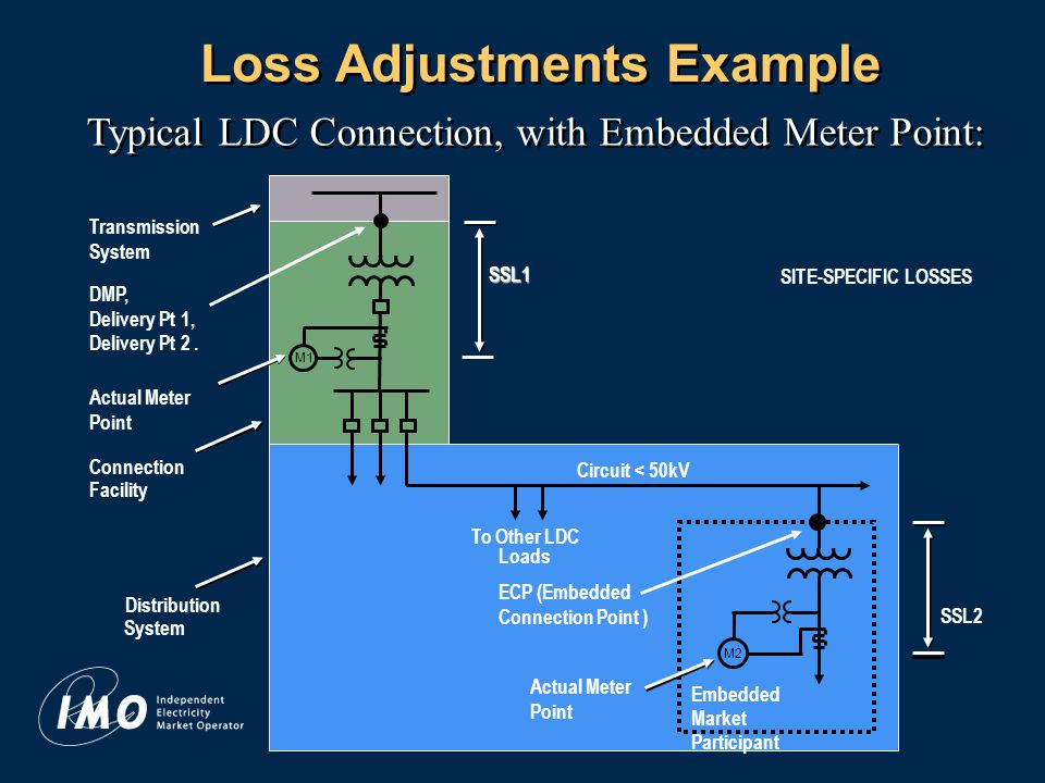 12 Loss Adjustments Example SSL2 SSL1 Typical LDC Connection, with Embedded Meter Point: Transmission System Actual Meter Point M1 Actual Meter Point To Other LDC Loads Connection Facility Distribution System Circuit < 50kV M2 Embedded Market Participant SITE-SPECIFIC LOSSES DMP, Delivery Pt 1, Delivery Pt 2.