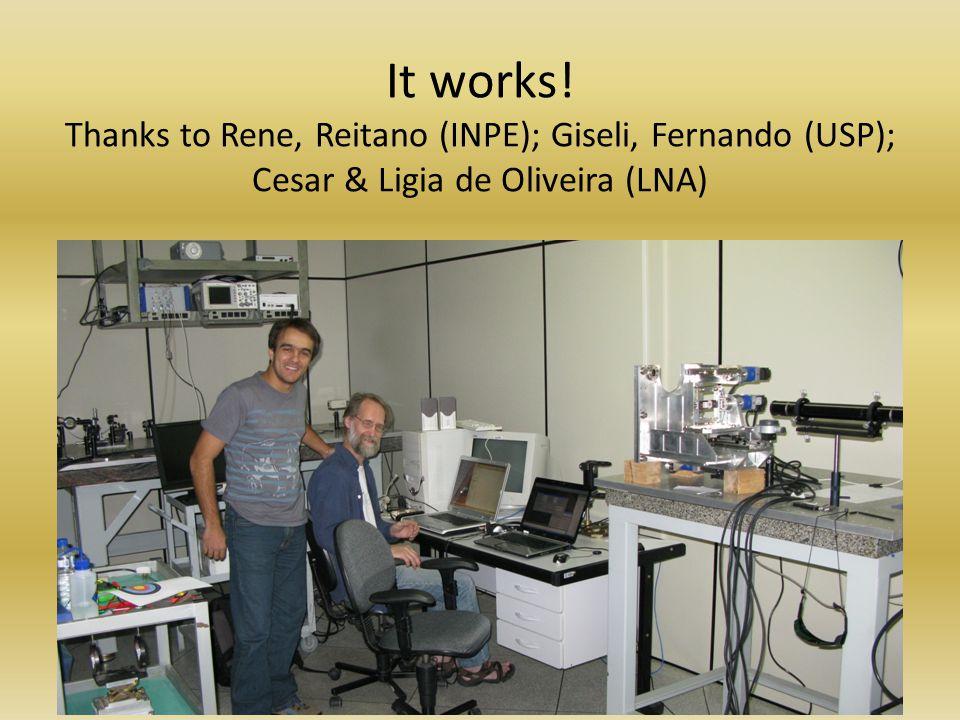 It works! Thanks to Rene, Reitano (INPE); Giseli, Fernando (USP); Cesar & Ligia de Oliveira (LNA)