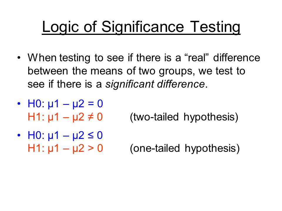 "Logic of Significance Testing When testing to see if there is a ""real"" difference between the means of two groups, we test to see if there is a signif"